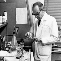 Leon O. Jacobson, the Joseph Regenstein Professor in Medicine, in his laboratory