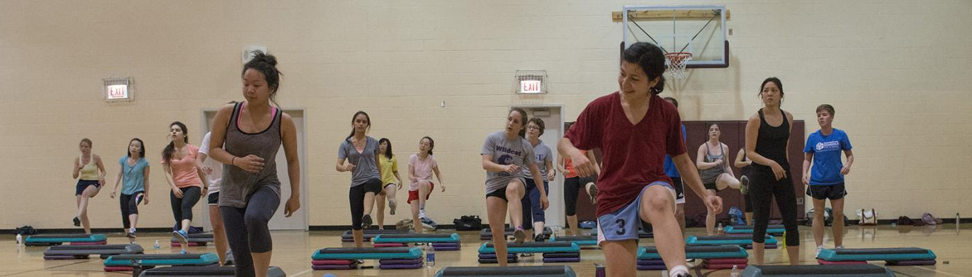 A workout class at the University of Chicago.