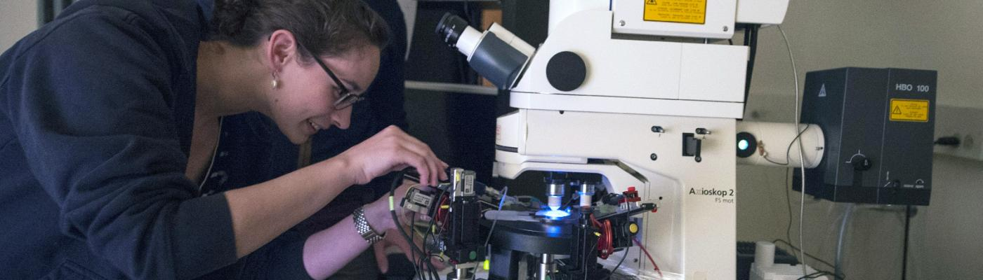 UChicago researchers work with a microscope.