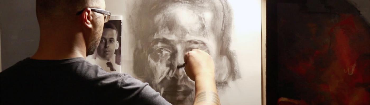 Artist Stephen Flemister works on E. E. Just portrait