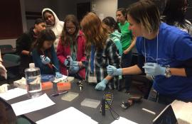 An EYH workshop leader shows girls how to use DNA samples to identify bird pathogens.