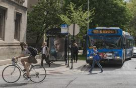 Bikes, buses, and cars on the UChicago campus