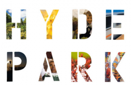 """Hyde Park"" written out with colorful images of the neighborhood"