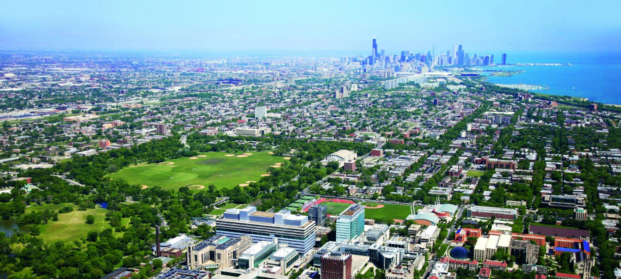 Looking north from the UChicago Campus toward downtown Chicago.